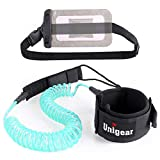 Unigear Premium SUP Leash 10' Coiled Stand Up Paddle Board Surfboard Leash Stay on Board with Waterproof Phone Case/Wallet (Sky Blue)