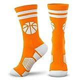 Basketball Woven Mid-Calf Socks | Classic Stripe & Ball | Orange & White