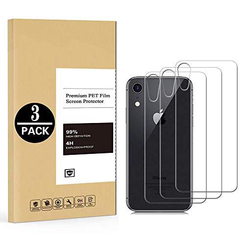 [3 Pack] Pellicola Posteriore Compatibile con iPhone XR, Pellicola Protettiva in Vetro Temperato Ultra Sottile Trasparente [Durezza da 9H] Anti-graffio Rear Back Film Protector