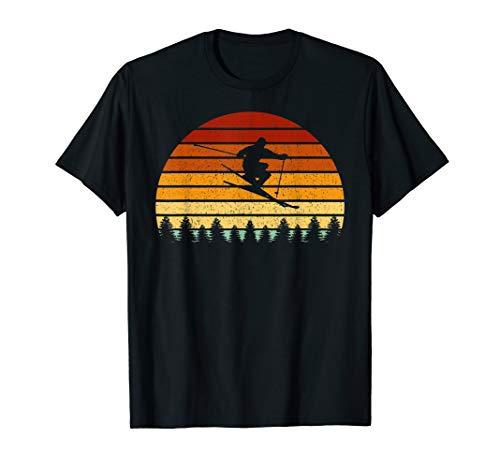 Vintage Sonne Skifahren Geschenk für Skifahrer T-Shirt