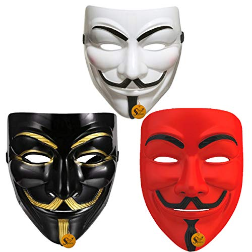 Sage Square Vendetta Comic FACE MASK Fawkes Mask Anonymous VIP Edition Face-Mask Perfect Fit Cosplay Protest V for Vendetta DC Comics (Red, White & Black) (Set)