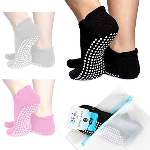 Skyba Non Slip Socks for Women - Barre, Pilates, Yoga, Hospital [Medium] Black - 2 Pairs