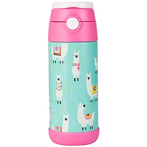 Snug Flask for Kids - Vacuum Insulated Water Bottle with Straw (Llamas)
