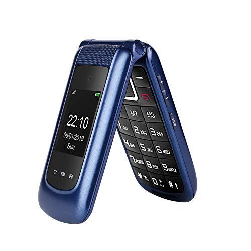 Uleway 3G Flip Phone Unlocked Big Button 2.4 Inch Dual Screen Tmobile Flip Phone Dual SIM Card SOS Button Basic Cell Phone for Senior&Kids (Blue)