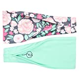 Maven Thread Women's No-Slip Sweat-Wicking Headband for Exercise and Yoga, 2-Pack (Refresh)