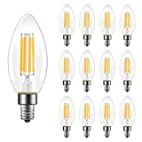 B11 E12 Candelabra LED Bulbs 60 Watt Equivalent, Dimmable LED Chandelier Light Bulbs, Soft White 2700K, 550LM, Decorative Candle Base Filament Bulb for Ceiling Fan, UL Listed, 12 Pack