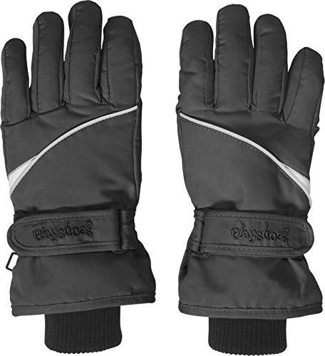 Playshoes Kinder Schnee-Handschuhe mit Thinsulate-Technik Finger Unisex Fingerhandschuhe mit Klettverschluss, schwarz, 3