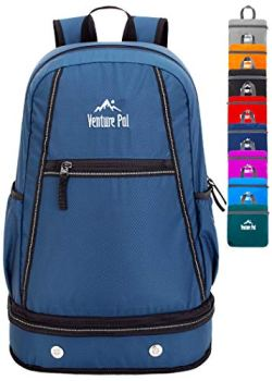 Venture Pal 35L Large Lightweight Packable Hiking Backpack with Wet Pocket & Shoes Compartment Travel Backpack & Day Backpack for Women Mens(Navy)