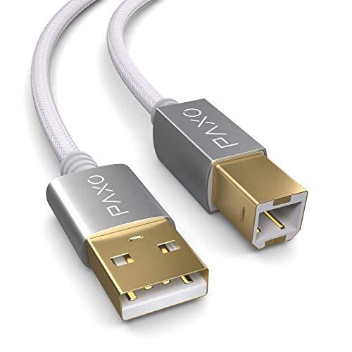 Cavo stampante USB 3m Nylon, bianco, spina USB A a USB B, cavo di ricarica, cavo dati, spina oro
