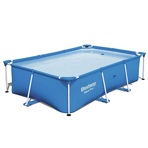 Bestway 56496E Steel Pro 8.5' x 5.6' x 2' Rectangular Above Ground Swimming Pool (Pool Only) with Rust-Resistant Steel Frame, Heavy-Duty PVC, and Polyester 3 Ply Sidewalls