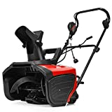 Goplus 18-inch Electric Snow Thrower, 15AMP Corded Snow Blower with 180° Rotatable Chute, 10-Inch Clearing Depth, 720Lbs/Minute (Red)