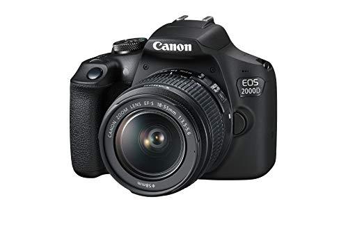 Canon EOS 2000D + EF-S 18-55 mm DC III Fotocamera, 24.1 megapixel Sensore APS-C, Nero
