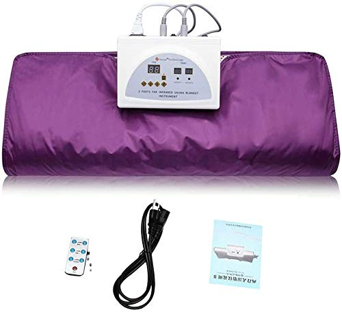 INLOVEARTS Far-Infrared (FIR) Sauna Blanket, 2 Zone Weight Loss Body Shaper Professional Detox Therapy Anti Ageing Beauty Machine (with Remote Control) (Purple) 1