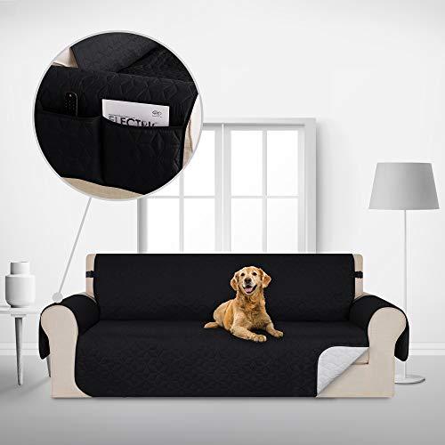 Deconovo Copridivano 4 Posti Antiscivolo Universale con Tasche Fodera Divano Trapuntato Protegge Il Mobile per Cani/Gatti Letto Nero