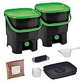 Skaza Bokashi Organko Set (2 x 16 L) Lot de 2 Composteurs en Plastique...