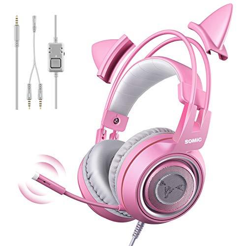 SOMIC G951S Cuffia da gioco rosa con microfono, Cuffie con microfono per ragazze Pink Cat con 3,5 mm cablate per Xbox One, Nintendo Switch, PS4, iPhone, iPad
