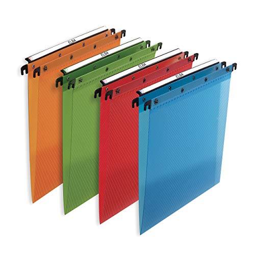 Elba - 100330406 Cartelle Sospese per Cassetto in Polipropilene, Interasse 33, Fondo V, Formato Esterno 31.6x25, Arancio/Verde/Rosso/Azzurro, Confezione da 10 Pezzi