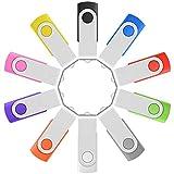 10 x Enfain 16GB USB Flash Drive Memory Stick Thumb Drives Bulk (MultiColor, 10 Pack)