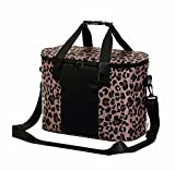 DYSHAYEN Portable Cooler Bag,30-Can Soft Sided Cooler Tote,Insulated Leakproof Waterproof Lunch Box with Removable Shoulder Strap,Suitable for Camping, Boating, Picnic, Beach, Road Trips (Leopard)…