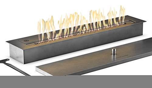 Muenkel Design Safety Burner 800 - Manual Burner Insert - Bio-Ethanol Combustion Chamber with 60 cm Flame Width - Brushed Stainless Steel