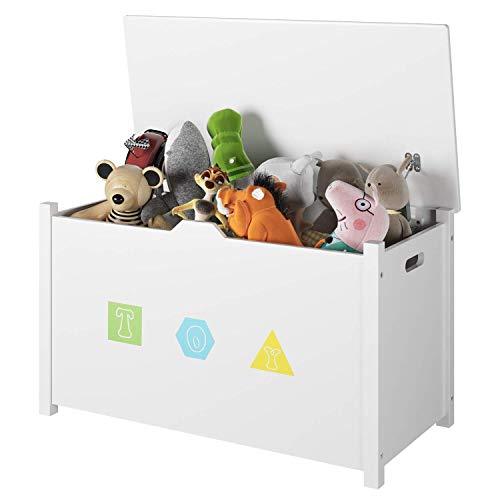 Homfa Spielzeugkiste Sitzbank Truhe mit Stauraum Sitztruhe Aufbewahrungstruhe Kindermöbel für Kinder,weiß 80 x 39.8 x 46cm