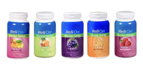 ReliOn Glucose Tablets Bundle of Fruit Punch, Tropical Fruit, Grape, Orange, and Raspberry