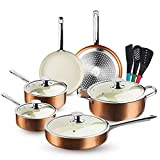 FRUITEAM 13-Piece Cookware Set Non-stick Ceramic Coating Cooking Set, Induction Pots Pans Set with Lids, Heavy Duty Stainless Steel Handles, Induction, Oven, Gas, Stovetops Compatible for Family Meals