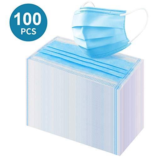 OCOOKO Máscaras desechables Máscaras de filtro de tres capas con pendientes elásticos, 100pcs, azul