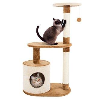 PETMAKER-Cat-Tree-Condo-3-Tier-with-Condo-Scratching-Posts-375-Brown-Tan