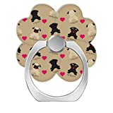 LoveStand-Cell Phone Ring Holder 360 Degree Finger Ring Stand for Smartphone Tablet and Car Mount-Black Fawn Pugs with Hearts