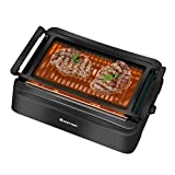 COSTWAY Smokeless Grill, Compact & Portable Indoor Electric BBQ Grill w/ Advanced Infrared Technology, Constant Temperature Barbecue Grill, Non-stick Surface & Removable Drip Tray for Easy Cleaning, Black (19'L×15'W×6.7'H)