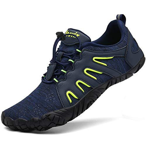 Voovix Mens Womens Trail Running Minimalist Barefoot Shoes Athletic Walking Shoes for Hiking Cross Training(Blue/Green,37)