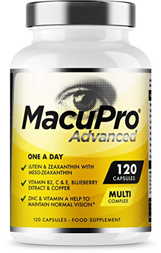 Advanced MacuPro Eye Supplement - 120 Capsules - Zeaxanthin, Meso Zeaxanthin, Lutein, Blueberry Extract Plus Vitamins and Minerals - Premium UK Made - 4 Months Supply - Vegan Friendly