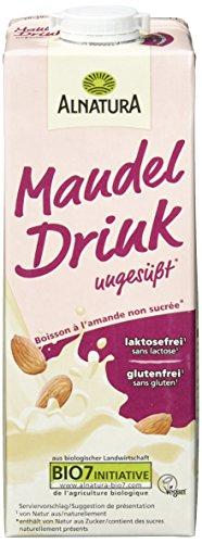 Alnatura Amandeldrank zonder suiker | Van biologisch geteelde amandelen uit Spanje en Italië | Gluten- lactose en suikervrij | Bevat gegarandeerd geen soja of pinda's | Geschikt voor veganisten en vegetariërs |8 x 1 literverpakking