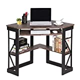 VECELO Desk with Keyboard Corner Computer Writing Shelves, Compact Home Office,Rustic Natural Brown