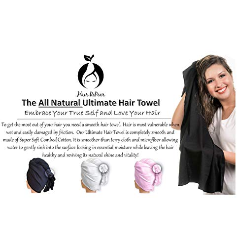 Hair RePear Ultimate Hair Towel for Long Hair - Anti Frizz Premium Cotton Product to Enhance Healthy Natural Hair Perfect for Plopping Wrapping Scrunching Straight Wavy or Curly Hair -21x44in Black 4