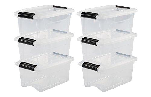 Iris Ohyama, lot de 6 boîtes de rangement empilables - New Top Box NTB-5 - Plastique, transparent, 5 L, 28,5 x 19,5 x 14 cm