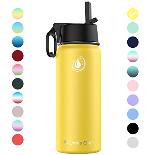 Umite Chef Sports Water Bottle with New Wide Handle Straw Lid, Vacuum Insulated Stainless Steel Thermo Mug, 32 oz Double Walled Wide Mouth Water Bottle,Leak Proof, Sweat Free (Yellow)