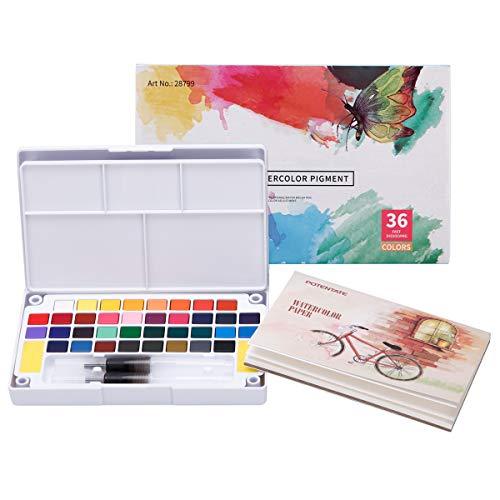 LAOYE Aquarellfarben Set 36 kräftige Wasserfarben Set - Aquarellfarbkasten inkl. 36 Wasserfarben + 12 Aquarellpapier + 2 Wassertankpinsel + Farbpalette + 2 Schwamm - Malkasten für Anfänger und Profis