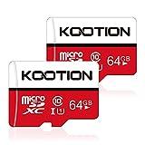 KOOTION Carte Micro SD 64 Go Lot de 2 Carte Mémoire UHS-I Vitesse jusqu'à 80...
