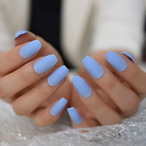 Baby Blue Coffin Press on Nails Medium Long False Nail Tips - 20 pcs Full Cover fake nails