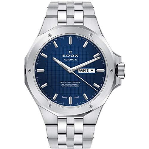 Edox Delfin The Original Herren-Armbanduhr 43mm Armband Metall Gehäuse Edelstahl Automatik 88005 3M BUIN