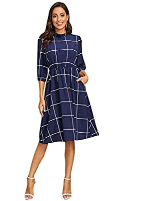 Fabric: fabric has no stretch, thin and lightweight. Features: plaid, grid, mock neck, filled neck, 3/4 sleeve, elastic waist, midi flare dress, pockets Occasions: suitable for causal daily wear, wear to work, business Model Measurements: Height: 178...