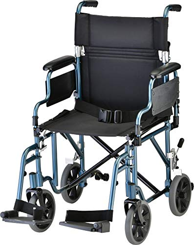 NOVA Lightweight Transport Chair with Removable & Flip Up Arms for Easy Transfer, Anti-Tippers Included, Blue