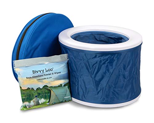 Bivvy Loo Blue Portable Toilet - Camping Toilet - Festival Toilet - Fishing Toilet - Campervan Toilet - Outdoor Camping Toilet - Portable loo - Camping Loo - Folds Away Flat - Supports Over 23 Stone