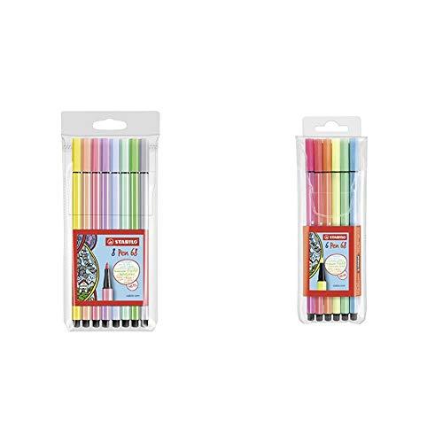 Stabilo Pen 68 Astuccio da 8 Colori Pastello, 8 Pezzi & Pen 68 Pennarelli NEON COLORS colori assortiti - Astuccio da 6