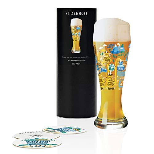 RITZENHOFF - Bicchiere da birra di frumento, 500 ml, con 5 coperchi da birra