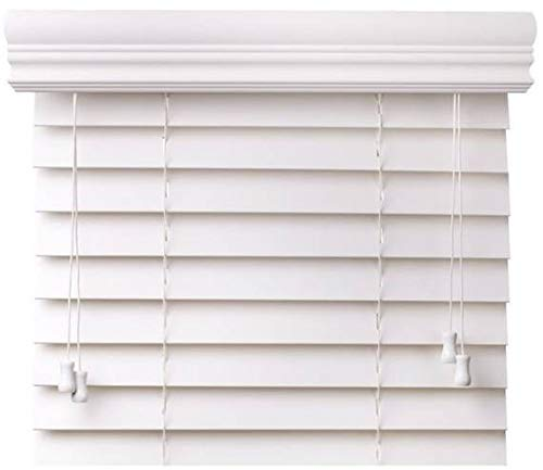 CBC – Customized 2″ Fake Wooden Blinds White w/Crown Valance – Width: 42.125 (42-1/8) – 48″ by Top: x 37-48″ Measurement Window Blind