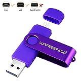 WANSENDA 256GB 128GB 64GB 32GB 16GB OTG USB Flash Drive for PC/Tablet/Mac/Micro Port Android Phone Samsung Galaxy S7/S6/S5/S4/S3, Note5/4/3/2, A7/A8/A9,C5/C7, LG V40,G4,Q7,LG Stylo3 (64GB, Purple)