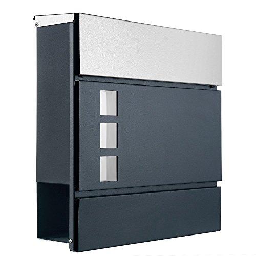 Briefkasten anthrazit - grau RAL7016 Edelstahl - Deckel Mod.111 Sichtfenster Zeitungsfach Zeitungsrolle
